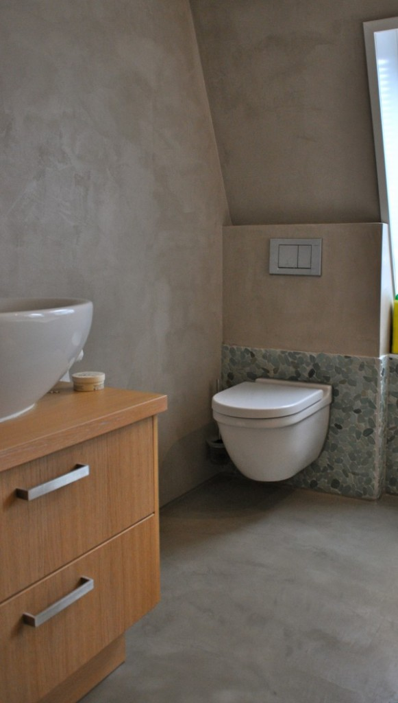 Binnenkijken in een woonboerderij in gelderland - Badkamer zwarte vloer ...