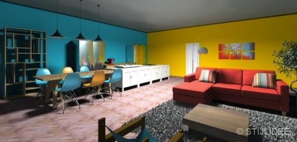 Stijlidee keukenontwerp voor een familiehuis met kleur for 3d inrichten